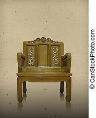 Old wooden chair on vintage background