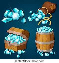Old wooden chest, barrel, old bag with gems diamonds. Game style treasure vector illustration.