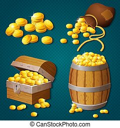 Old wooden chest, barrel, old bag with gold coins. Game style treasure vector illustration.