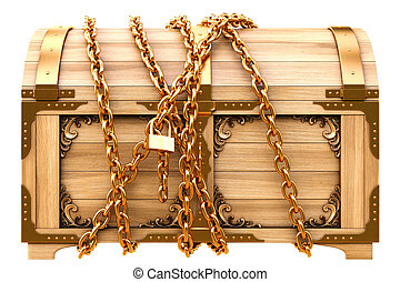 old wooden chest in chains isolated on white.