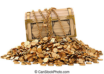 old wooden chest in chains on a pile of gold coins. isolated on white.