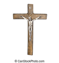 Christian crucifix of Jesus Christ isolated on white background