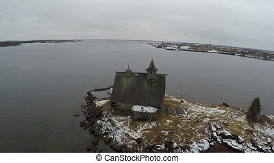 Old Wooden Church by White Sea - Aerial shot of abandoned...
