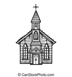 Old wooden church chapel engraving vector illustration....