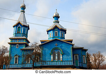 Old wooden church in the ukrainian village
