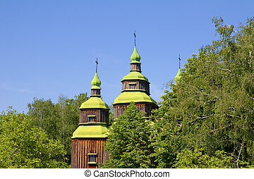 Old wooden church, Pirogovo, Kiev, Ukraine