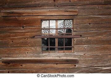 old wooden church window