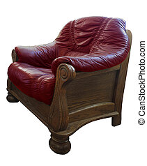 Old wooden classic leather red armchair isolated on white background
