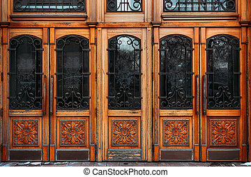 Old wooden closed door