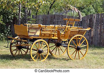 old wooden coach vintage scene