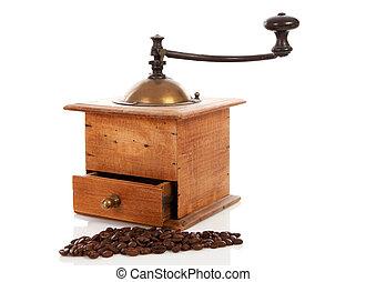 Old wooden coffee grinder