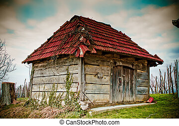 Old wooden cottage - traditional wine cellar - Old wooden...