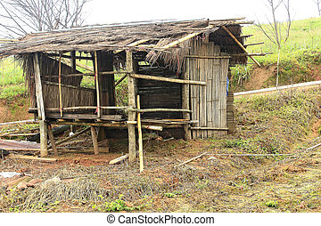 Old wooden cottages built with bamboo
