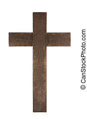 Old wooden cross isolated on white background with clipping path