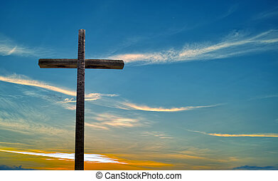 Old Wooden Cross over blue sky