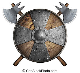 old wooden crusaders' shield and two crossed axes isolated...