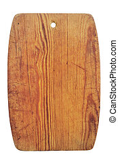 old wooden cutting board on white