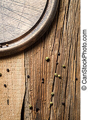Old wooden cutting board with cut marks background 4