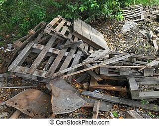 Old wooden debris pile, Wood garbage pile