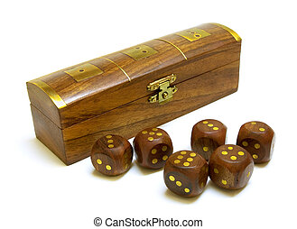 Old wooden dices with box isolated on white