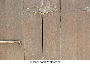 Old wooden door close up