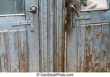 old wooden door closeup