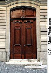 Old wooden door, Geneva, Switzerland