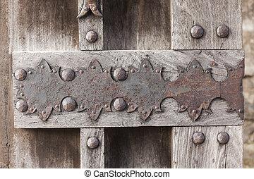 Old wooden door in the castle