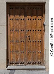 Old wooden door of house