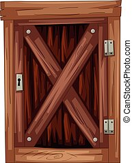 Old wooden door on white background