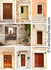 Old Wooden Door - A group of old wooden doors on very old...
