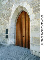 Wooden Door Surrounded by Stone Walls - Old Wooden Door ...