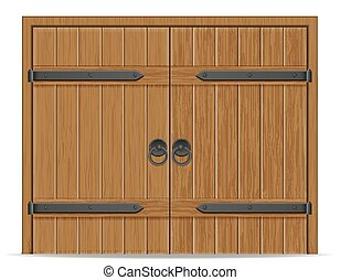 old wooden door vector illustration