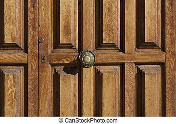 Old wooden door with Antique Door Knob