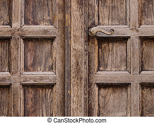 Old wooden door with panels and handle