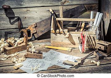 Old wooden drawing desk in carpenter workshop