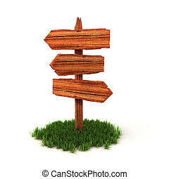 old wooden empty signpost on grass isolated on white ...
