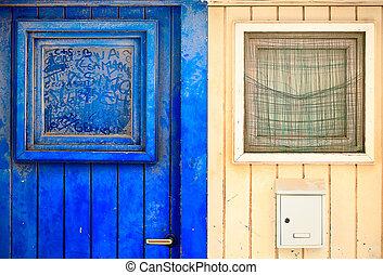 Old wooden entrance door