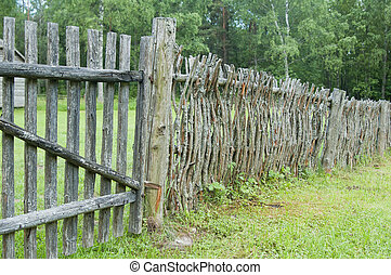 old wooden fence in the countryside