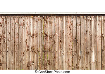 Old wooden fence isolated on white background.