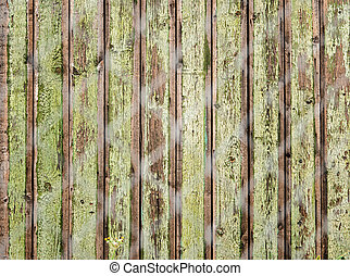 old wooden fence photographed over the net