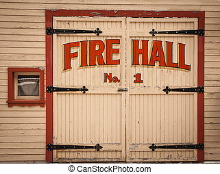 Old wooden Fire Hall door in the ghost town of Sandon, British Columbia, Canada