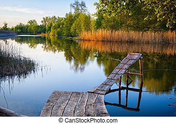 Old wooden fishing pier.