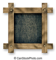 Old  wooden frame against a white