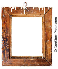 Backside of old wooden frame isolated on white background