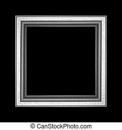 Old wooden frame isolated on black background
