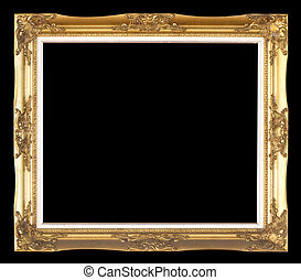 Old Wooden frame isolated on black
