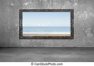 Old wooden frame window on wall with sea and sky