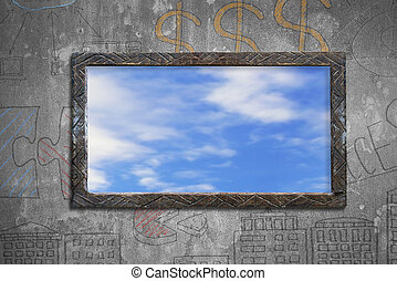 Old wooden frame window with sky clouds view on wall