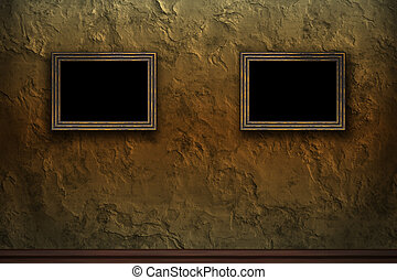 Old wooden frames on retro grunge wall